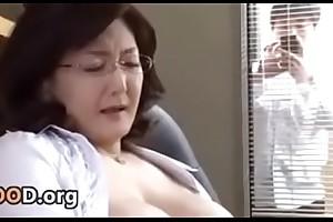Japanese school helmsman masturbates in the office