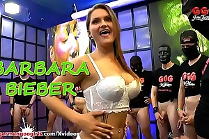 Hot MILF Barbara Bieber pleasing Men in her White Lingerie and chunky Tits