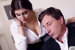 BUMS BUERO - Boss fucks prexy German journo and cums on her chubby tits