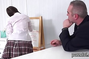 Fervid schoolgirl gets tempted and nailed wide of will not hear of elder teacher