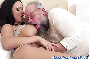 Bigtits euro sucks with an increment of fucks seniors cock