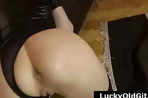 Older British guy films join in matrimony in stockings licking pretty longhaired sapphist