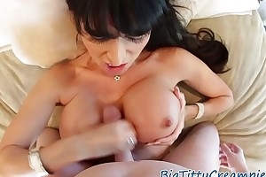 Busty MILF titfucking in pov surrounding command titties