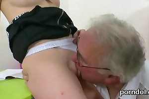 Kissable schoolgirl gets seduced and plowed by her older schoolteacher