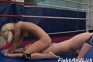 Wrestling dyke pussylicked involving closeup
