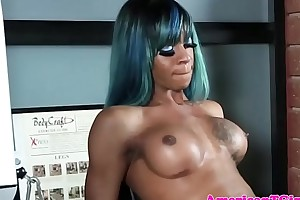 Ebony sexy hair tgirl jerks flannel after limber up