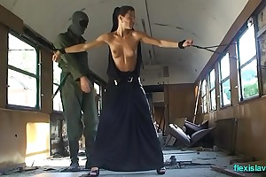 Bdsm partition Alex Zothberg nude, oiled, captive and whipped in train