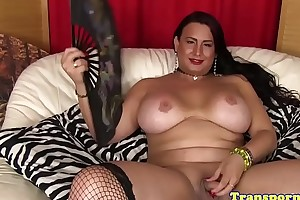 Busty receiver pornstar in stockings tugs cock