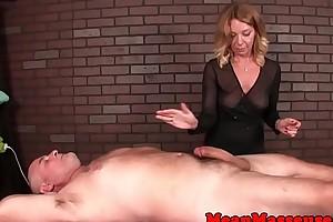Mature masseuse dominates her clients dick