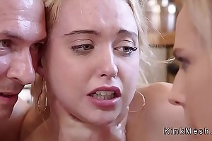 Teen added to Milf in the air bondage waxing added to fucking