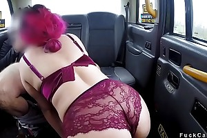 Obese amateur fucks fake taxi driver
