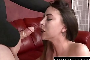 Muddy babe kneels and chokes on cock
