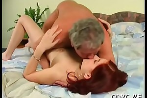 Juvenile clumsy babe sucks together with fucks an doyen guy passionately