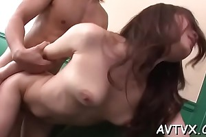 Nice-looking asian charms with wet blowjob coupled with hot cock saddling