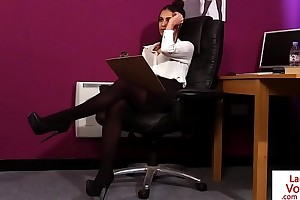 British CFNM assignment babe instructs jerkoff