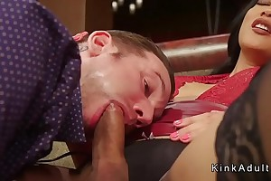 Tanned shemale anal bangs inked slave guy