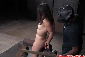 Bound bdsm sub disciplined connected with many toys
