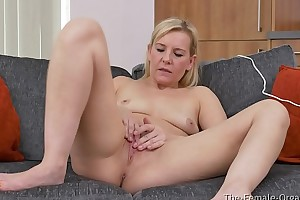 MILF Strips and Masturbates there Foot in the door Curled Crisis there the Hitachi