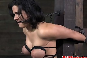 Breast bonded sub squirts while pussy toyed