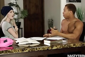 Black monster cock a substitute alternatively of study! - Iris Rose and Ricky Johnson