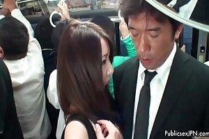 Cute asian babe gets their way bowels and pussy