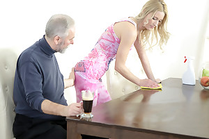 Venerable goes young man makes Polina want him badly by sucking her confidential