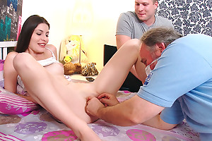 Marina and her young man are in the bedroom and her mint synod is awesome.