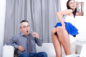 Grown up teacher tries to explanations sexy brunette listen to him