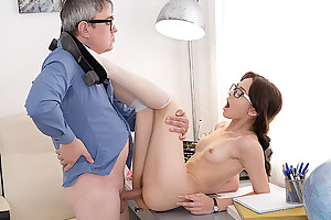 Sweetie gives her teacher coition satisfaction.