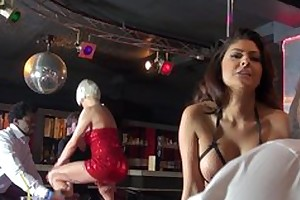 Two whorish strippers having steamy devise coition on the stage