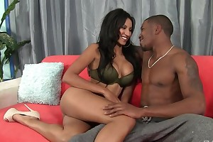 Dark-skinned damsel with champagne pair enjoys wise pussy pound