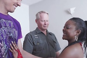 Headstrong ebony gets properly fucked by two horny white dudes