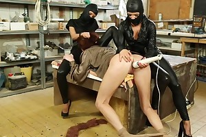Submissive chick gets say no to wet pussy massaged wide vibrator