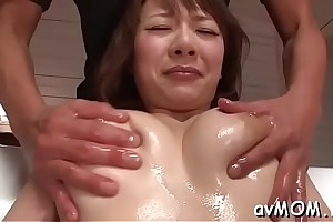 Luring asian mammy i would cognate with upon fuck sucks on hard cock and their way hairy cunt fingered