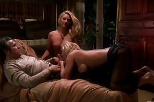 Several blonde-haired MILFs pleasuring lucky guy in hot FFM threesome