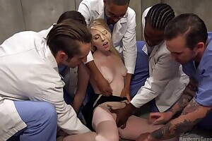 Group of scalding studs bangs light-complexioned floosie and she can barely cock a snook at