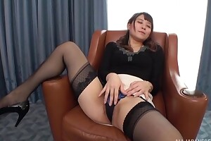 Insatiable Japanese lass here small tits fucked on a stool