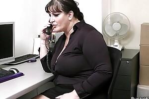 Office dealings in busty women being done
