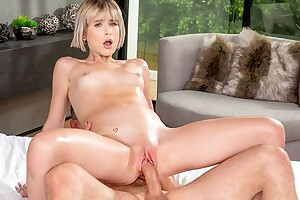Short-haired XXX cutie gets her tight cleft fucked hard