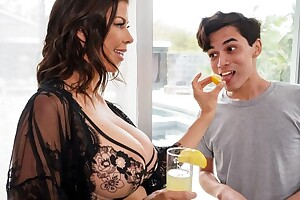 Dark-haired housewife seduces and fucks young unify boy