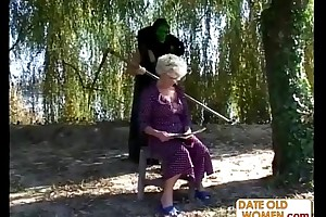 Granny receives a lesson immigrant masked chap
