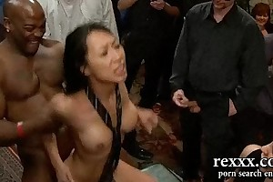 Hottest black brown hair brutally gangbanged off out of one's mind giant co...
