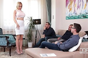 Fantastic five breasty blonde sucks down 4 hawt congeries