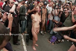 Blonde puppy in the matter of leash in the matter of hanging fire of drubbing and extre...