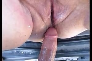 Hot preggo mommy receives fuck in car & creampie inside