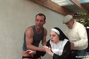 Young french nun screwed hard in trio with papy voyeur