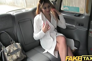 Faketaxi hawt Great White Father wife in fishnet underware