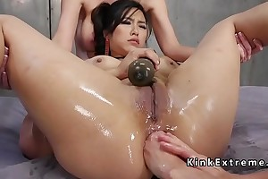 Strapon anal pound and fisting lesbians