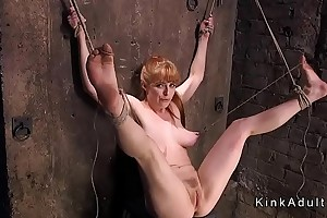 Well-endowed directed more redhead gagged and toyed