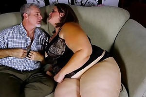 Beautiful BBW less nice heavy tits loves to swell up and fuck